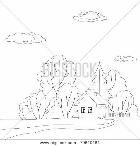 House in forest, contours