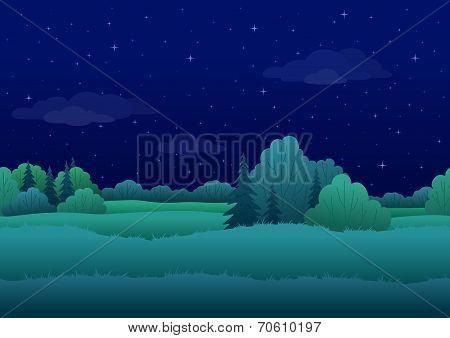 Seamless background, night landscape