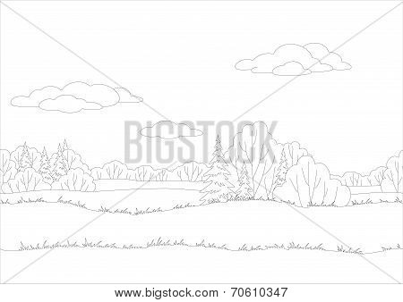 Seamless background, woodland landscape, contour