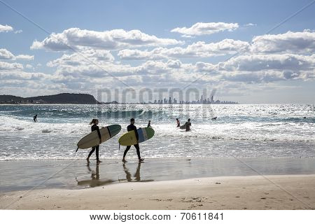 Surfers at Curumbin Beach Gold Coast