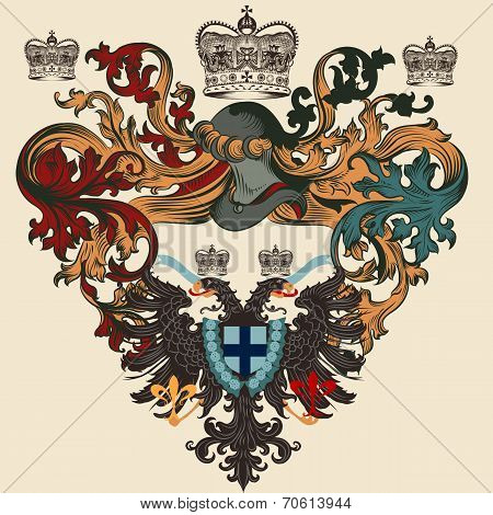 Heraldic Design With Coat Of Arms, Shield And Eagle