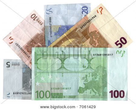 Different Colourful Euros Isolated, Savings Wealth, Texture