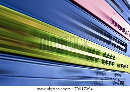 telecommunication equipment, router and switch in motion, high speed fast internet concept