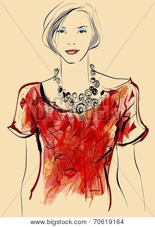 Top model in watercolor style - vector illustration