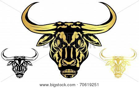 Three Bull Head - Vector Illustration