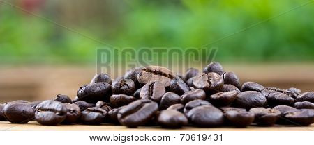 Coffee On Wooden Background Fresh Coffee Beans On Wood And Natural Background,ready To Brew Deliciou