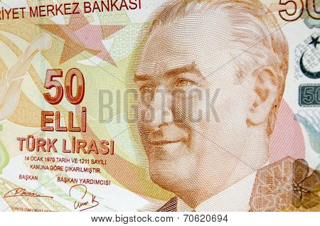 Ataturk on 50 Lira Banknote