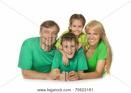 Family in a green clothes