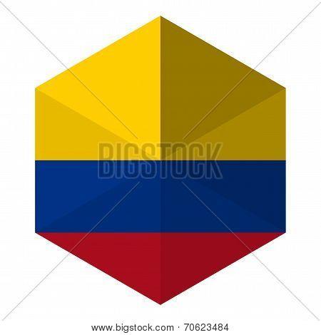 Colombia Flag Hexagon Flat Icon Button
