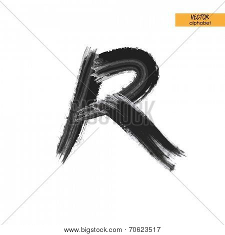 art sketched stylized ink doodle alphabet in vector, black grungy font, uppercase letter R