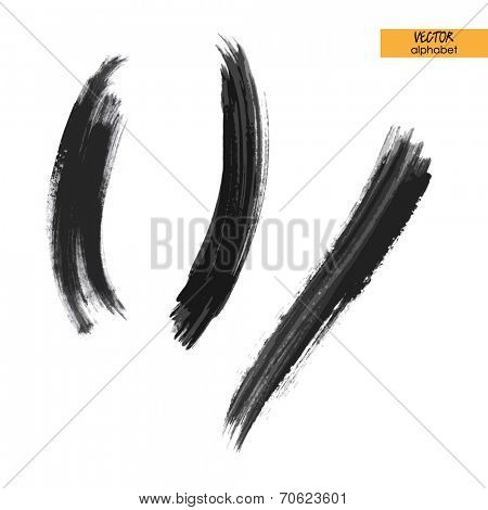art sketched stylized ink doodle alphabet in vector, black grungy font,  brackets marks and slash