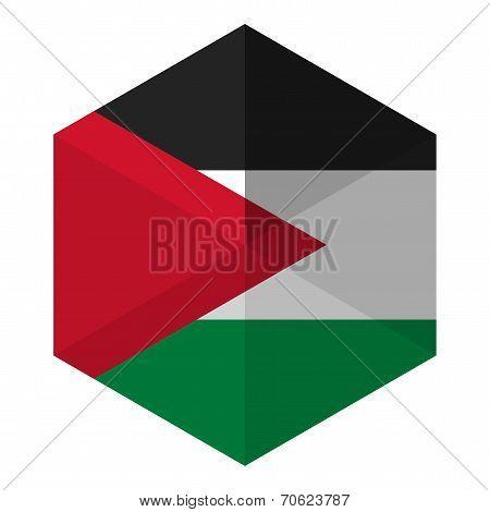Palestine Flag Hexagon Flat Icon Button