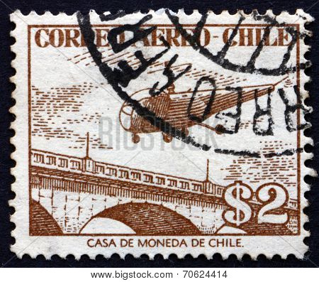 Postage Stamp Chile 1956 Helicopter Over Bridge