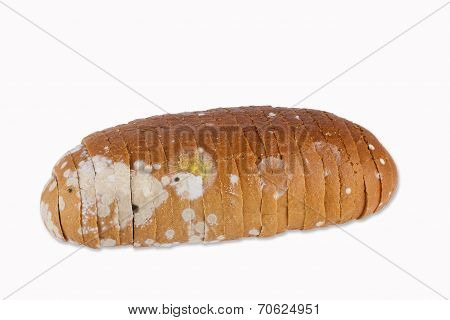 Moldy Sliced Bread Loaf Over A White Background.
