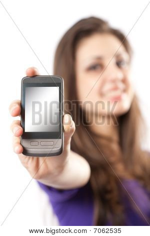 Brunette With Mobile Phone Or Pda