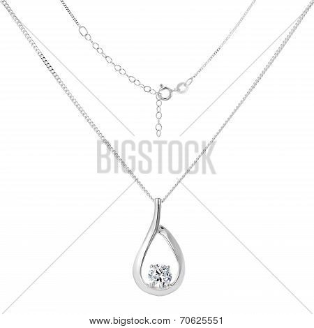 Silver Necklace And Pendant On White Background