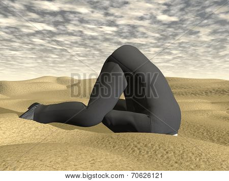 Businessman burying his head in the sand - 3D render