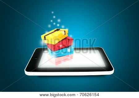 Touch Screen Tablet With Multi Color Presents Or Gift Boxes