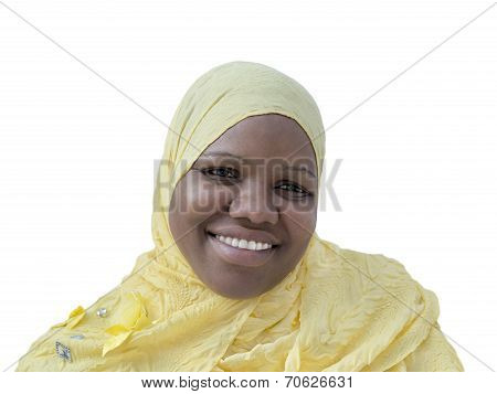 Portrait of a voluptuous woman wearing a headscarf, isolated
