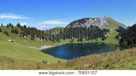 Lake Oberstockensee And Stockhorn
