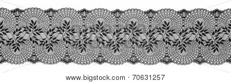 Embroidered Lace Trim Ribbon, Needlework Border, Embroidly Fabric Pattern, Isolated Over White Backg