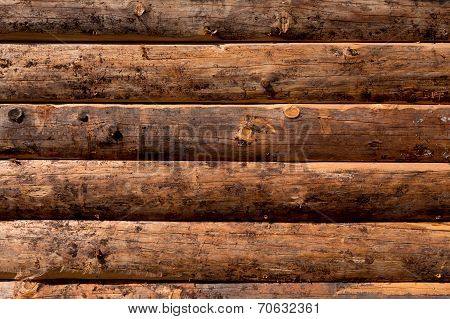 Wooden Wall From Logs