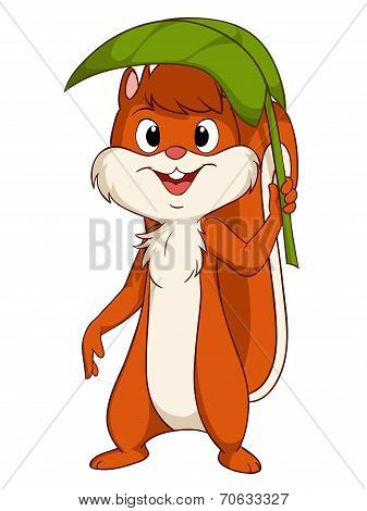 Cartoon Smiling Squirrel With Green Sunshade Leaf