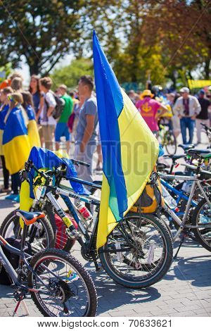 ODESSA, UKRAINE - August 23: Flash mob in city of Odessa on Potemkin Stairs on August 23, 2014, in day of a national flag of Ukraine. Ukrainian flag