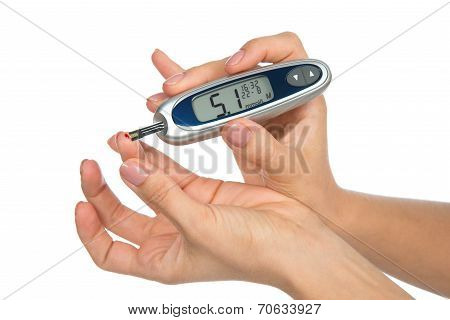 Diabetes Patient Measuring Glucose Level Blood Test I