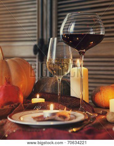 Autumn Place Setting. Thanksgiving Dinner