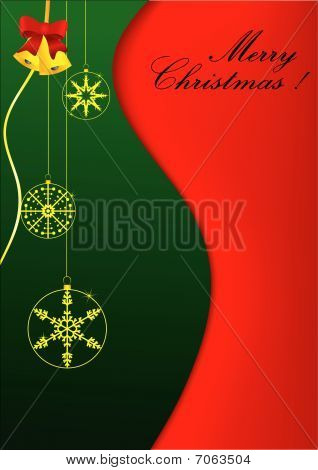 Stylish Christmas background with balls and bells
