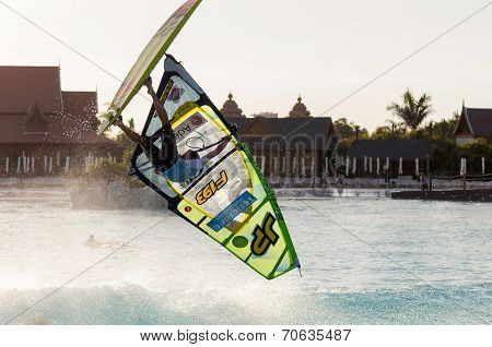 Windsurfing session in Siam park. PWA2014 Tenerife