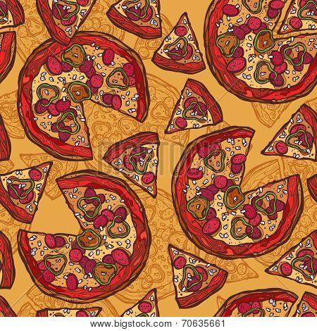 Pizza sketch seamless pattern