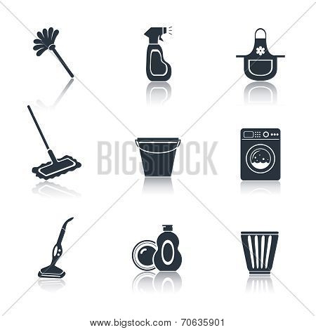 Cleaning icon set black