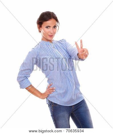 Alone Hispanic Woman With Winning Sign