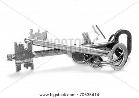 Set Of Keys On White