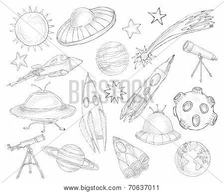 Space objects sketch set