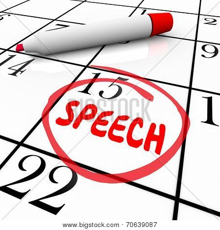 Speech date or day circled on a calendar to illustrate a reminder of an important speaking engagement