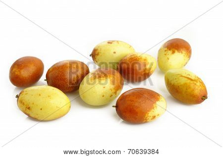 Chinese Jujubes Fruits On White