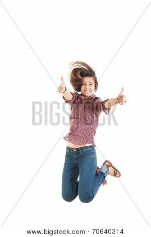 Woman In Red Shirt Showing Thumbs Up