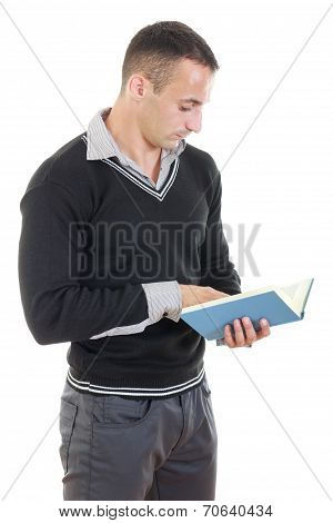 Young Handsome Thoughtful Business Man Reading Book
