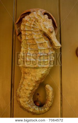 Metal Knocker Shaped Sea Horse. Hippocampus