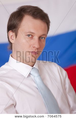 Politician Over Russian Flag