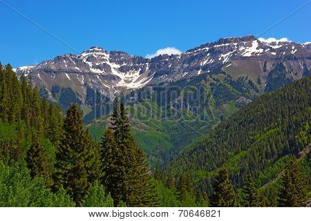 Mountains surrounding Telluride Colorado.
