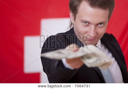 Man With Money Over Switzerland Flag