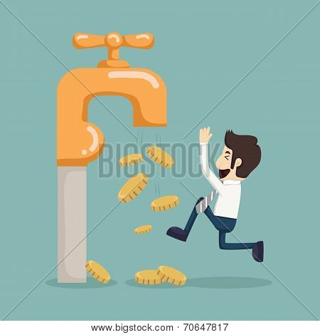 Money Coins Fall Out Of Golden Faucet