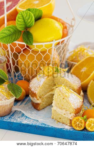 Citrus Victoria Sponge Cake with Lemon Curd