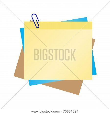 Colorful  Blank Paper Note With Blue Clip