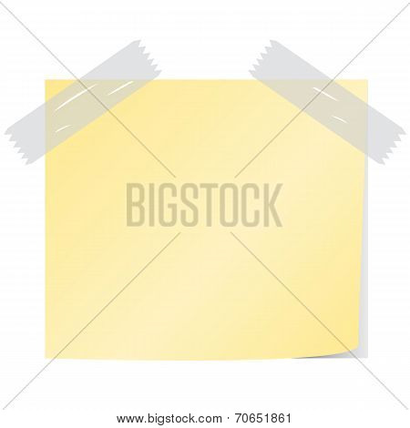 Blank Yellow Color Paper Note Vector