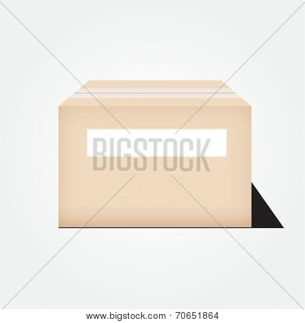 Closed Cardboard Box Taped Up And Blank White Label  Vector